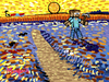 Cartoon: Minecraft sower (small) by Munguia tagged the sower arles van gogh millet minecraft video game parody munguia