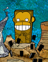 Cartoon: Monoliths (small) by Munguia tagged monolith,monkeys,monkey,space,odyssey,2001,kubrick,munguia,costa,rica,humor,grafico,calcamunguias,chile,movie