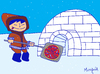 Cartoon: North Pole Pizza (small) by Munguia tagged pizzapitch iglu esquimal north pole ice cold munguia cartoon caricatura costa rica costarricense tico