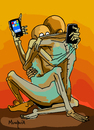 Cartoon: on line (small) by Munguia tagged zdzislaw,beksinski,the,hug,abrazo,horror,paintings,parodies,famous