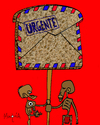 Cartoon: Pan Carta - Urgent! (small) by Munguia tagged bread,pan,carta,letter,mail,banner,hunger,hungry,thin,starving,air,urgent,africa,3rd,world,tercer,mundo,poverty