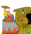 Cartoon: Pizza delivery Soup (small) by Munguia tagged pizzapitch canibal delivery pizza boy service express fire soup