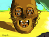 Cartoon: Prozac Face (small) by Munguia tagged salvador,dali,war,face,of,prozac,horror,parody,painting