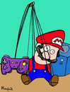 Cartoon: Puppet (small) by Munguia tagged mario,bros,video,games,nintendo,puppet,mupet,control,videogames,gamecube