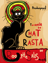 Cartoon: Le Chat Noir Rasta (small) by Munguia tagged le,chat,noir,black,cat,theophile,alexandre,steinlen,turnee,du,cartel,parody,irie,reggae