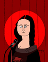 Cartoon: Stand up comedy (small) by Munguia tagged stand,up,comedy,stage,show,mona,lisa,monalisa,davinci,leonardo,gioconda,microphone,light,spotlight,fun,cartoon,munguia,calcamunguias