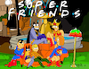 Cartoon: Super Friends (small) by Munguia tagged super,friends,dc,heros,superman,fountain,batman,aquaman,wonderwoman,batgirl,supergirl,tv,show,parodies,parody