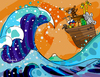 Cartoon: this way! (small) by Munguia tagged noah,ark,noe,hokusai,big,wave,mar,turbulento,painting,japon,curving,art,parodies,parody,munguia,calcamunguias,animals,zoo,tsunami