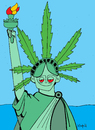 Cartoon: Too Much liberty statue (small) by Munguia tagged weed,marihuana,drugs,liberty,statue,new,york,leaf,green,parody,munguia
