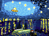 Cartoon: Ufo flying over starry night (small) by Munguia tagged vincent,van,gogh,stary,night,parody,ufo,ovni