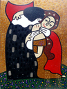 Cartoon: vampire kiss (small) by Munguia tagged klimt,kiss,beso,dracula,vampire,munguia,spoof,parodies,parody