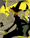 Cartoon: Witch Devil Musical (small) by Munguia tagged divan,japanise,toulouse,lautrec,witch,horro,parody,painting