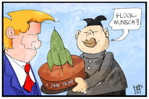 Cartoon: 1 Jahr Trump (medium) by Kostas Koufogiorgos tagged karikatur,koufogiorgos,illustration,cartoon,trump,kim,jong,un,glückwunsch,torte,rakete,nuklear,atomwaffen,nordkorea,usa,karikatur,koufogiorgos,illustration,cartoon,trump,kim,jong,un,glückwunsch,torte,rakete,nuklear,atomwaffen,nordkorea,usa