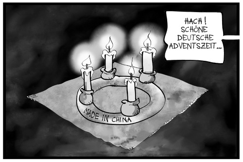 Cartoon: 4. Advent (medium) by Kostas Koufogiorgos tagged karikatur,koufogiorgos,illustration,cartoon,advent,adventskranz,deutsch,china,nostalgie,globalisierung,kerzen,karikatur,koufogiorgos,illustration,cartoon,advent,adventskranz,deutsch,china,nostalgie,globalisierung,kerzen