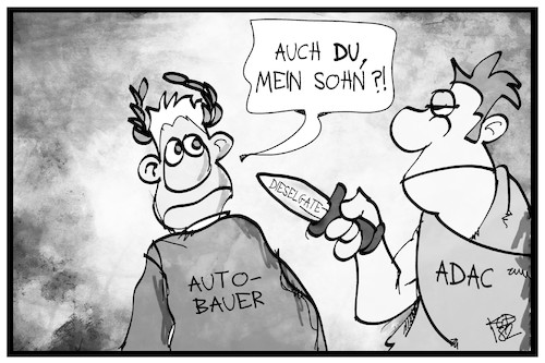 Cartoon: ADAC-Kritik (medium) by Kostas Koufogiorgos tagged karikatur,koufogiorgos,illustration,cartoon,adac,brutus,mord,caesar,zitat,historisch,automobil,club,karikatur,koufogiorgos,illustration,cartoon,adac,brutus,mord,caesar,zitat,historisch,automobil,club