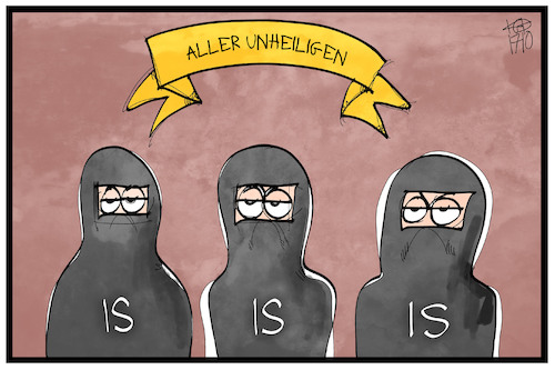 Cartoon: Allerunheiligen (medium) by Kostas Koufogiorgos tagged karikatur,koufogiorgos,illustration,cartoon,terrorismus,is,terrorist,feiertag,allerheiligen,unheilig,religion,karikatur,koufogiorgos,illustration,cartoon,terrorismus,is,terrorist,feiertag,allerheiligen,unheilig,religion