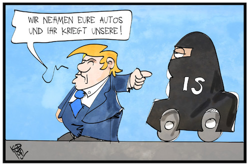 Cartoon: Autotausch (medium) by Kostas Koufogiorgos tagged karikatur,illustration,cartoon,koufogiorgos,strafzölle,autos,is,tausch,burka,trump,terrorismus,sicherheit,karikatur,illustration,cartoon,koufogiorgos,strafzölle,autos,is,tausch,burka,trump,terrorismus,sicherheit