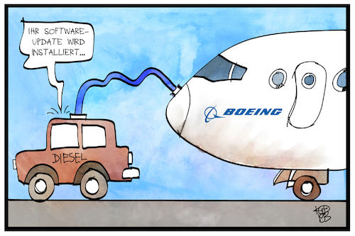 Cartoon: Boeing-Softwareupdate (medium) by Kostas Koufogiorgos tagged karikatur,koufogiorgos,illustration,cartoon,boeing,diesel,software,update,flugzeug,sicherheit,wirtschaft,flugzeugbauer,karikatur,koufogiorgos,illustration,cartoon,boeing,diesel,software,update,flugzeug,sicherheit,wirtschaft,flugzeugbauer