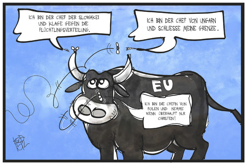 Cartoon: EU-Flüchtlingspolitik (medium) by Kostas Koufogiorgos tagged eu,cartoon,illustration,koufogiorgos,karikatur,flüchtlingspolitk,mitgliedsstaaten,polen,slowakei,ungarn,quälgeist,nerven,fliege,stier,europa,karikatur,koufogiorgos,illustration,cartoon,eu,europa,stier,fliege,nerven,quälgeist,ungarn,slowakei,polen,mitgliedsstaaten,flüchtlingspolitk