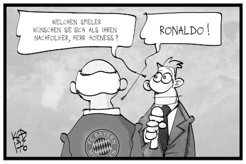 Cartoon: Hoeneß und Ronaldo (medium) by Kostas Koufogiorgos tagged karikatur,koufogiorgos,illustration,cartoon,ronaldo,hoeness,bayern,fussball,sport,reporter,journalist,interview,steuerhinterziehung,nachfolger,karikatur,koufogiorgos,illustration,cartoon,ronaldo,hoeness,bayern,fussball,sport,reporter,journalist,interview,steuerhinterziehung,nachfolger