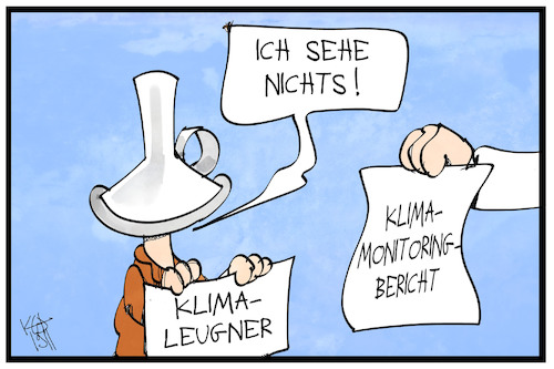 Cartoon: Klimabericht (medium) by Kostas Koufogiorgos tagged karikatur,koufogiorgos,illustration,cartoon,klima,wandel,umweltbundesamt,studie,klimaleugner,aluhut,blind,umwelt,erderwärmung,karikatur,koufogiorgos,illustration,cartoon,klima,wandel,umweltbundesamt,studie,klimaleugner,aluhut,blind,umwelt,erderwärmung