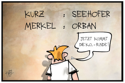Cartoon: K.o.-Runde Asylstreit (medium) by Kostas Koufogiorgos tagged karikatur,koufogiorgos,illustration,cartoon,ko,merkel,kurz,seehofer,orban,asylpolitik,asylstreit,kampf,konflikt,begegnung,karikatur,koufogiorgos,illustration,cartoon,ko,merkel,kurz,seehofer,orban,asylpolitik,asylstreit,kampf,konflikt,begegnung