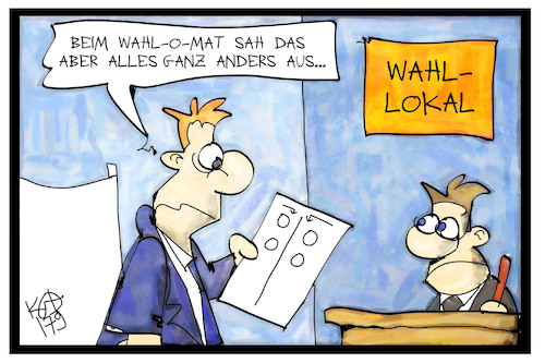 Cartoon: Wahlomat (medium) by Kostas Koufogiorgos tagged karikatur,koufogiorgos,illustration,cartoon,wahlomat,wahl,bundestagswahl,wahllokal,karikatur,koufogiorgos,illustration,cartoon,nichtwaehler,wahl,bundestagswahl,populist,rechtsradikal,michel,stimme,stimmabgabe,langeweile