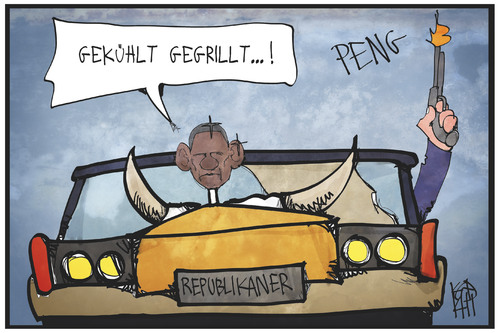 Cartoon: Obama auf dem Kühlergrill (medium) by Kostas Koufogiorgos tagged karikatur,koufogiorgos,illustration,cartoon,obama,auto,kühlergrill,usa,politik,wahl,republikaner,karikatur,koufogiorgos,illustration,cartoon,obama,auto,kühlergrill,usa,politik,wahl,republikaner