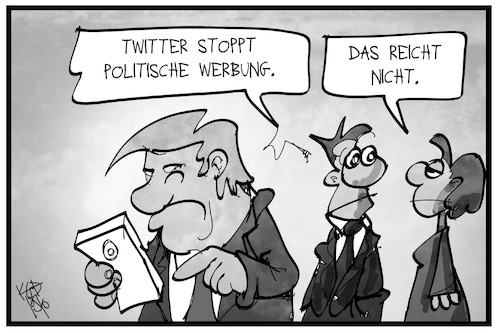 Cartoon: Politische Werbung (medium) by Kostas Koufogiorgos tagged karikatur,koufogiorgos,illustration,cartoon,werbung,politik,twitter,social,media,trump,einfluss,usa,karikatur,koufogiorgos,illustration,cartoon,werbung,politik,twitter,social,media,trump,einfluss,usa