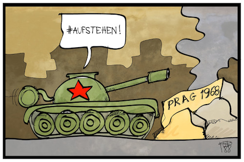 Cartoon: Prager Frühling (medium) by Kostas Koufogiorgos tagged karikatur,koufogiorgos,illustration,cartoon,prag,frühling,1968,aufstehen,panzer,tschechien,tschecheslowakei,sowjetunion,geschichte,konflikt,karikatur,koufogiorgos,illustration,cartoon,prag,frühling,1968,aufstehen,panzer,tschechien,tschecheslowakei,sowjetunion,geschichte,konflikt