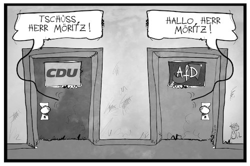 Cartoon: Robert Möritz (medium) by Kostas Koufogiorgos tagged karikatur,koufogiorgos,illustration,cartoon,robert,möritz,cdu,afd,politik,partei,austritt,rechtsextremismus,karikatur,koufogiorgos,illustration,cartoon,robert,möritz,cdu,afd,politik,partei,austritt,rechtsextremismus