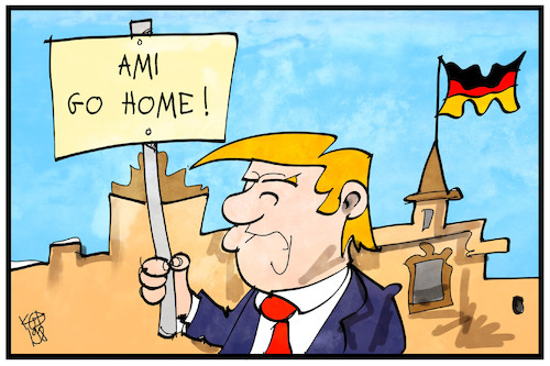 Cartoon: US-Soldaten in Deutschland (medium) by Kostas Koufogiorgos tagged karikatur,koufogiorgos,illustration,cartoon,trump,usa,soldaten,stationierung,deutschland,milität,truppen,karikatur,koufogiorgos,illustration,cartoon,trump,usa,soldaten,stationierung,deutschland,milität,truppen