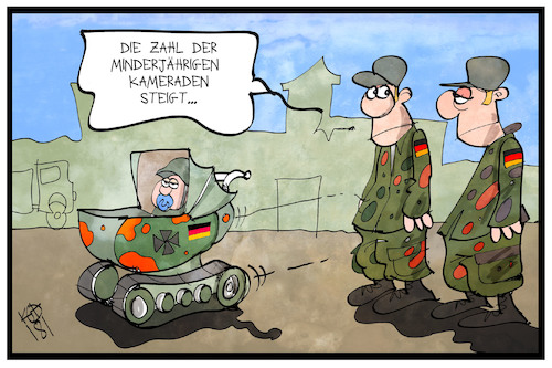 Cartoon: Bundeswehr (medium) by Kostas Koufogiorgos tagged karikatur,koufogiorgos,illustration,cartoon,bundeswehr,minderjährig,kind,panzer,kinderwagen,armee,militär,soldat,kindersoldat,karikatur,koufogiorgos,illustration,cartoon,bundeswehr,minderjährig,kind,panzer,kinderwagen,armee,militär,soldat,kindersoldat