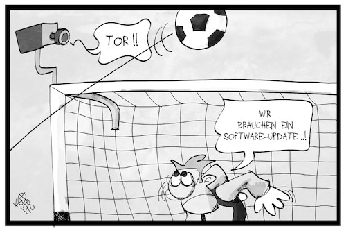 Cartoon: Videobeweis (medium) by Kostas Koufogiorgos tagged karikatur,koufogiorgos,illustration,cartoon,video,beweis,kamera,software,technik,tor,torwart,sport,fussball,karikatur,koufogiorgos,illustration,cartoon,video,beweis,kamera,software,technik,tor,torwart,sport,fussball
