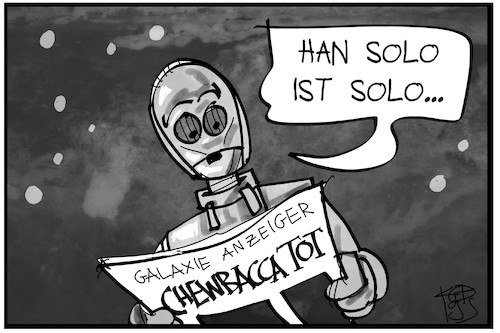 Cartoon: Zum Tod von Chewbacca (medium) by Kostas Koufogiorgos tagged karikatur,koufogiorgos,illustration,cartoon,star,wars,film,legende,chewie,chewbacca,han,solo,filmfigur,charakter,wookiee,fantasy,karikatur,koufogiorgos,illustration,cartoon,star,wars,film,legende,chewie,chewbacca,han,solo,filmfigur,charakter,wookiee,fantasy