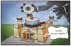 Cartoon: Hacker-Angriff (small) by Kostas Koufogiorgos tagged karikatur,koufogiorgos,illustration,cartoon,reichstag,bundestag,kuppel,dvd,daten,scheibe,hacker,angriff,cakebox,spionage,politik