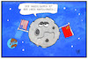 Cartoon: Handelskrieg auf dem Mond (small) by Kostas Koufogiorgos tagged karikatur,koufogiorgos,illustration,cartoon,handelskrieg,mond,usa,china,mondlandung,fahne,flagge,change,sonde,raumfahrt