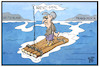 Cartoon: Mays Mission (small) by Kostas Koufogiorgos tagged karikatur,koufogiorgos,illustration,cartoon,may,brexit,uk,london,frankreich,deutschland,castaway,floss,ärmelkanal,eu,europa