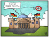Cartoon: PKW-Maut (small) by Kostas Koufogiorgos tagged karikatur,koufogiorgos,illustration,cartoon,bundestag,reichstag,frisbee,maut,verkehr,gebühr,politik