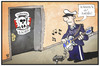 Cartoon: Rechtsterrorismus (small) by Kostas Koufogiorgos tagged karikatur,koufogiorgos,illustration,cartoon,old,school,society,oss,polizei,razzia,alice,cooper,lied,song,rechtsterrorismus,rechtsextremismus,politik