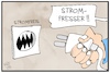 Cartoon: Strompreise (small) by Kostas Koufogiorgos tagged karikatur,koufogiorgos,illustration,cartoon,strom,strompreis,verbraucher,energie,kosten,wirtschaft