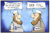Cartoon: Terroristen-Kennzeichnung (small) by Kostas Koufogiorgos tagged karikatur,koufogiorgos,illustration,cartoon,terrorismus,salafist,terrorist,kennzeichnung,tüv,politik,prävention