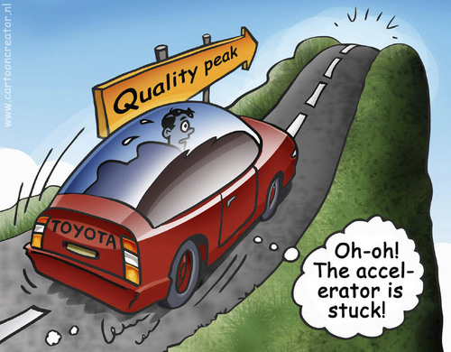 Cartoon: Quality Peak (medium) by illustrator tagged toyota,car,hill,mountain,drive,peak,quality,fall,ravine,canyon,stuck,accelerator,gas,vehicle,auto,cartoon,illustration,peter,welleman