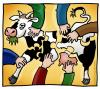 Cartoon: Puzzle cow (small) by illustrator tagged cow,puzzle,farmers,arms,putting,together,match,matching,animal,tier,kuh,puzzlespiel,mitarbeit,