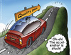 Cartoon: Quality Peak (small) by illustrator tagged toyota,car,hill,mountain,drive,peak,quality,fall,ravine,canyon,stuck,accelerator,gas,vehicle,auto,cartoon,illustration,peter,welleman