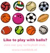 Cartoon: Wanna play with balls? (small) by illustrator tagged club,gay,sport,ball,team,promo,animation,queer,spiel,mannschaft,volleybal