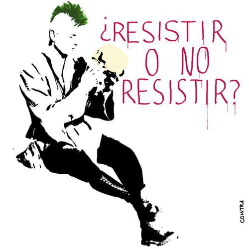 Cartoon: To resist or not to resist? (medium) by Conntra tagged spain15m,manifestation,to,resist