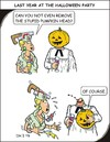 Cartoon: Pumpkin (small) by JotKa tagged pumpkin,head,halloween,party,fun,horror,saw,nurse,syringe,sparkling,gown,blood,men,women,love,hats,first,aid,medicine,church,superstition,myths,disappointment,invitation