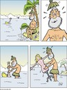 Cartoon: Treibgut -  Floating debries (small) by JotKa tagged treibgut,schiffbruch,schiffbrüchige,gestrandet,insel,seenot,einsamkeit,frau,mann,liebe,sex,puppe,palmen,angeln,schiff,schneider,frust,pech,floating,debris,shipwreck,castaways,stranded,island,distress,loneliness,woman,man,love,doll,palms,fishing,boat,tailo
