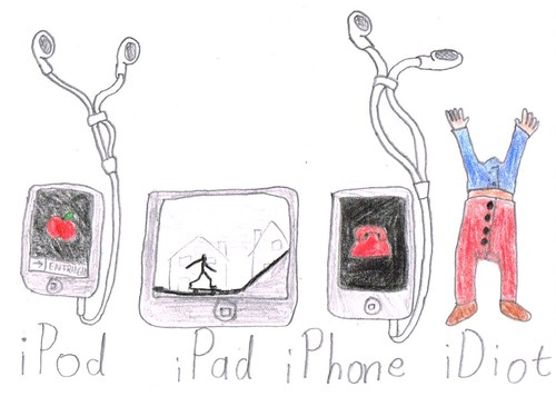 Cartoon: das neue Appleprodukt (medium) by Salatdressing tagged ipad,ipod,iphone,apple,idiot,appleprodukt,appleprodukte,smartphone,smartphones